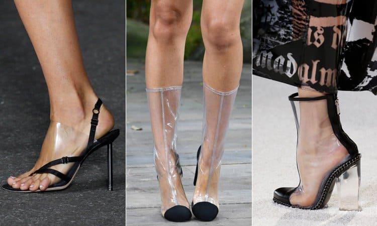Прозрачные фрагменты в обуви